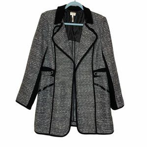 Laundry by Shelli Segal Black Tweed Knit Coat